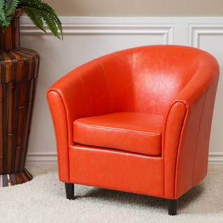 Christopher Knight Home Napoli Orange Bonded Leather Club Chair