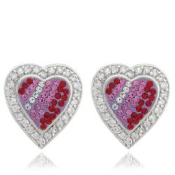Dolce Giavonna Sterling Silver White, Pink and Red Crystal Heart Earrings