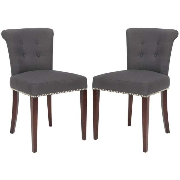 Safavieh Carrie Charcoal Grey Side Chair (Set of 2)