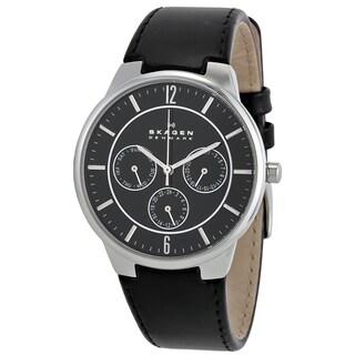 Skagen Black Leather Stainless Steel Men's Watch