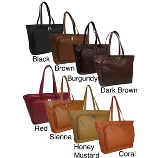 Amerileather Cosmopolitan Leather Zip-Top Tote Bag