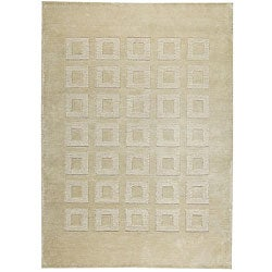 Hand-knotted Marm Beige Wool Rug (4'6 x 6'6)