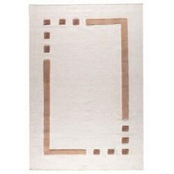 Hand-woven Cara White Wool Rug (6'6 x 9'9)