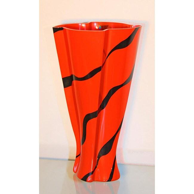 Decorative Red Zebra Glass Vase