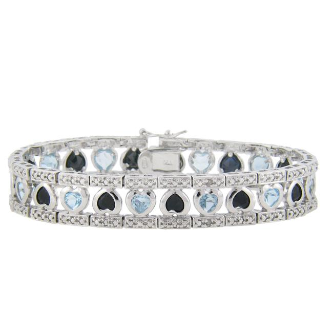 Dolce Giavonna Sterling Silver Sapphire, Blue Topaz and Diamond Accent Heart Bracelet