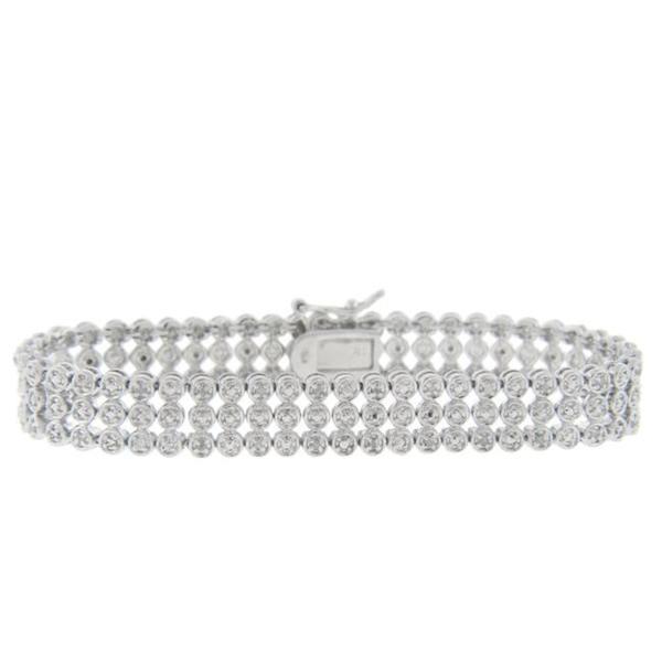 Sterling Silver 1/2ct TDW Diamond 3-row Bracelet (I-J, I2-I3)