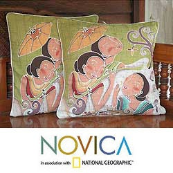 Set of Two Cotton 'Lanna Ladies Charm' Cushion Covers (Thailand)