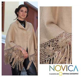 'Flower of Peru' Alpaca Wool Short Poncho (Peru)
