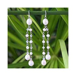 'Shimmering Perfection' Pearl Waterfall Earrings (Thailand)