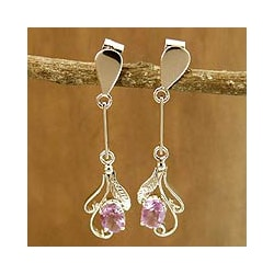 Sterling Silver 'Floral Bud' Amethyst Drop Earrings (India)