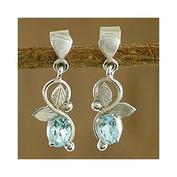 Sterling Silver 'Blue Magic' Blue Topaz Dangle Earrings (India)
