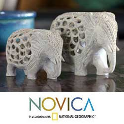Soapstone 'Elephant Duet' Sculptures (Set of 2) (India)