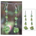Sterling Silver 'Waterfall' Peridot Cluster Earrings (India)
