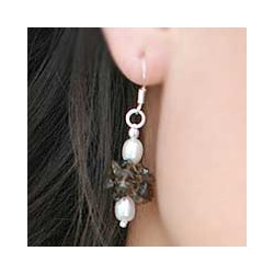 Pearl and Smoky Quartz Earrings (India)