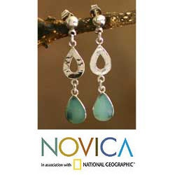 Sterling Silver 'Tears of Joy' Opal Dangle Earrings (Peru)