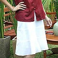 'Thai Summer Day' White Cotton Skirt (Thailand)