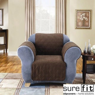 Sure Fit Quilted Suede Chocolate Chair Pet Throw