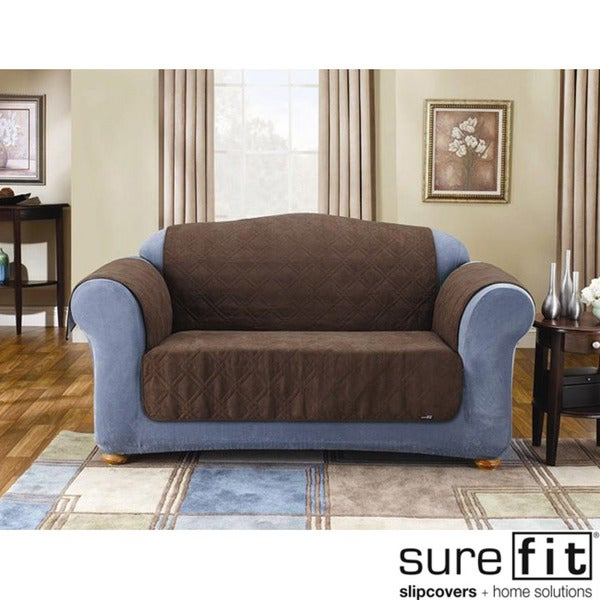 Sure Fit Quilted Suede Chocolate Sofa Pet Throw Pillow