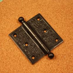 Handcrafted Dark Bronze Solid Brass Decorative Hinges (Pack of Three)