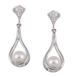 Kabella Sterling Silver White FW Pearl and Cubic Zirconia Earrings (6-6.5 mm)