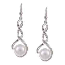 Kabella Sterling Silver White Freshwater Pearl Earrings (8-8.5 mm)