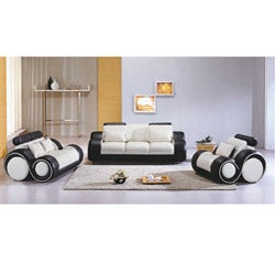 Black/ White Modern 3-piece Leather Sofa Set