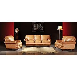 Thomas Camel Tan 3-piece Leather Sofa Set