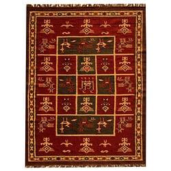 Hand-woven Arya Red Geometric Rug (8' x 11')