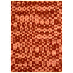 Hand-woven Diamond Red Jute Rug (6' x 9')