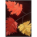Hand-tufted Oblique Leaves Wool Rug (5' x 8')