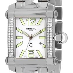 Phillipe Charriol Men's 'Columbus' Stainless Steel Diamond Watch