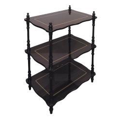 Dark Brown with Gold Accent 3-tier Shelf
