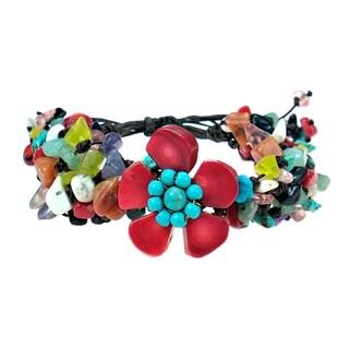 Handmade Mixed Stones Organic Pull Bracelet (Thailand)