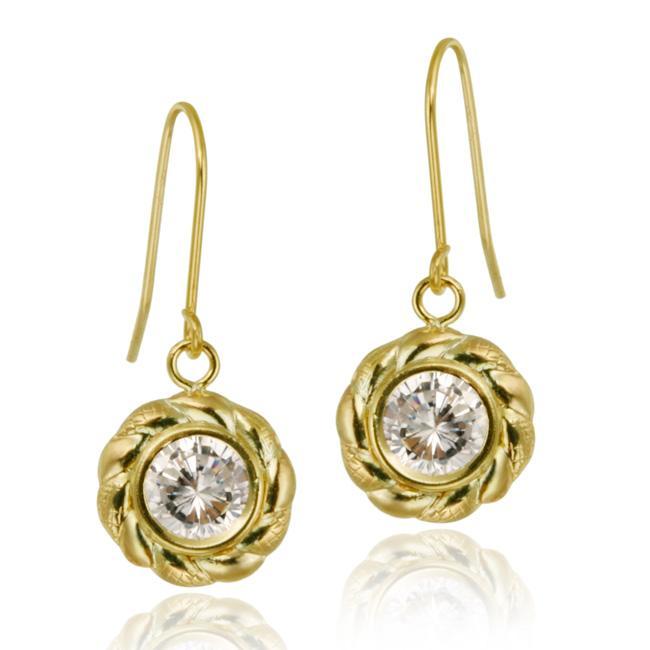 Icz Stonez 10k Yellow Gold Cubic Zirconia Twisted Design Dangle Earrings