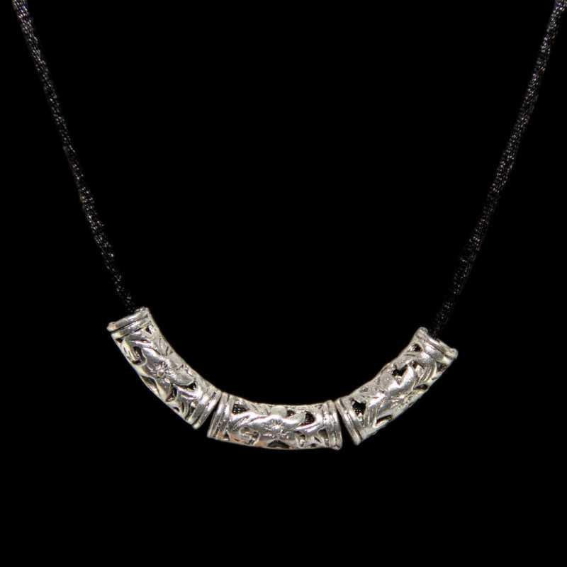 Tibetan Silver Tube Necklace (China)