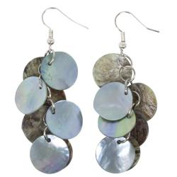 Sterling Silver Blue/ Grey Mother of Pearl Cluster Earrings (China)
