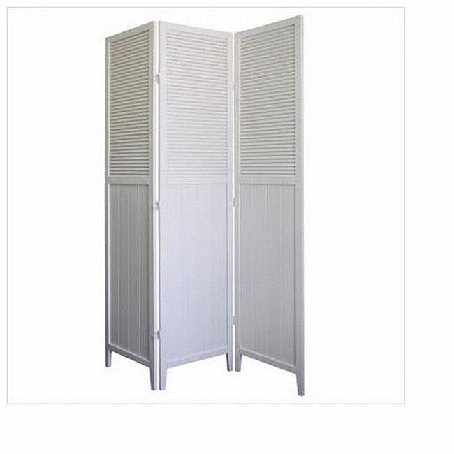 Shutter Door White 3-panel Room Divider
