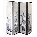 Black Floral 4-panel Room Divider