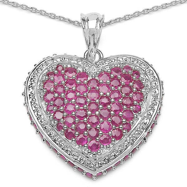 Sterling Silver Ruby Cluster Heart Necklace