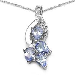 Malaika Sterling Silver Tanzanite and Diamond Accent Necklace