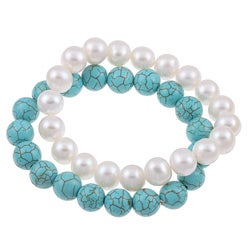 DaVonna White FW Pearl and Turquoise 2 7-inch Stretch Bracelets (9-10 mm)