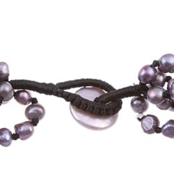DaVonna Purple Pearl and Oval Amethyst Double-knotted Bracelet (6-7 mm)