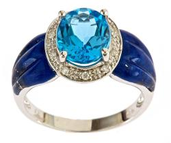 Sterling Silver Swiss Blue Topaz, Lapis and Diamond Accent Ring
