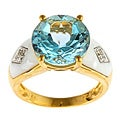 Gold over Silver Blue Topaz and White Agate Ring