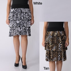 S Max by Adi Women's Tiered Safari Print Skirt