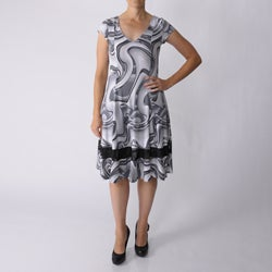 Adi Designs Women's Swirl Print Cap Sleeve Dress