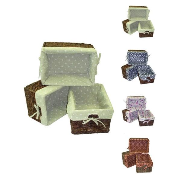 Woven Maize Rectangular Storage Baskets (Set of 3)