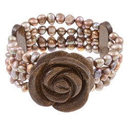 DaVonna Flower Bronzite and Chocolate Freshwater Pearl Bracelet (5-5.5 mm)