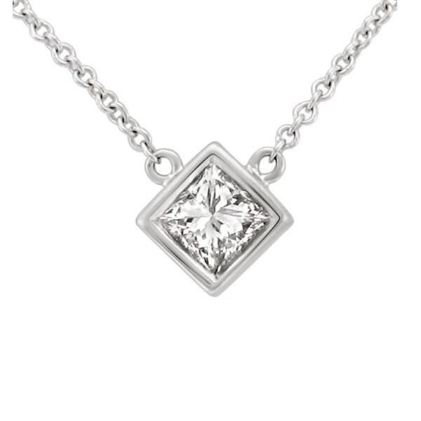 14k Gold 3/8ct TDW Princess-cut Diamond Solitaire Necklace (H-I, I1)