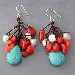 Silver Dangle Turquoise/ Coral/ Pearl Cluster Earrings (Thailand)
